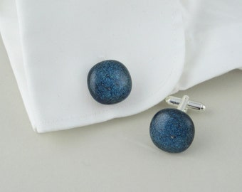 Teal sparkle glass cuff links, fused glass cufflinks