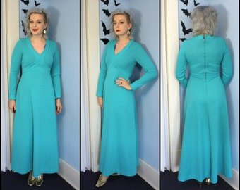Vintage 70s Womens Aqua Blue Maxi Dress Modern Size Medium Large Long Sleeve Knit Polyester