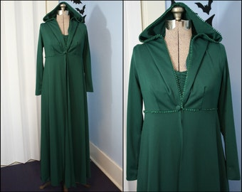 Vintage Womens 1970s Two Piece Set Modern Size Small Dark Green Duster Jacket with Matching Maxi Dress Elven Queen Fantasy Costume