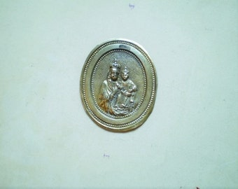 Virgin Mary and Child - Vintage Metal Pocket Shrine or Devotional - Oval - Gilt Metal - Catholic - Holy Charm