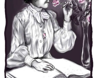 Helen Keller, A4 Fine Art Portrait Drawing Print