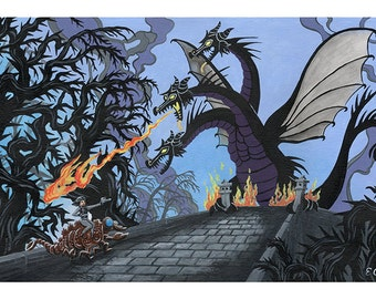 Kingu Ghidorah - Sleeping Beauty Maleficent / King Ghidorah Godzilla kaiju 11x17 tribute print