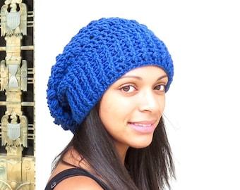 Crochet Slouchy Hat, Tam Hat, Oversize Hat, Crochet Hat, Color is Colonial Blue