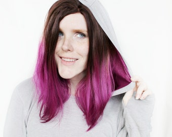 SALE Lace Front wig | Brown Purple wig | Magenta Fuchsia Gradient wig | Straight Lace Front wig | Fuchsia Flame