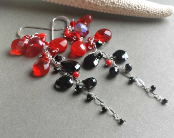 Red Black Gemstone Earrings, Red Goth Earrings, Bright Red Gemstone Cluster, Black Spinel Dangle: Ready to Ship