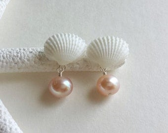 Pink Pearl Stud Earrings, Tiny White Shell Studs, Mermaid Studs, Pink Pearl Dangle Earrings, Beach Stud Earrings, Beach Wedding Studs