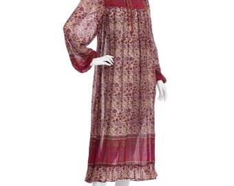 Vintage 70's Indian EARTHY Sheer Cotton Floral Paisley Bib Ties Puff Sleeves Hippie Boho Ruffled Trim Tent Midi DRESS