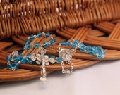Holy Family Rosary, Aquamarine and Clear Crystal Rosebuds