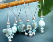 Stitch Markers, Knitting, Caribbean Larimar, Semi-Precious Stones, Snag Free, Gift for Knitters, Jeweled Tool, Knitting Accessory, Supplies