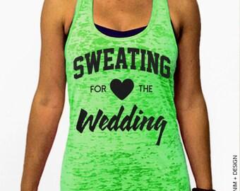 Sweating for the Wedding Tank - Neon Green Burnout Racerback Tank Top - Women's Workout Top