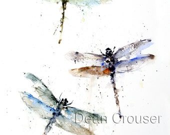DRAGONFLY Watercolor Nature Art Print by Dean Crouser