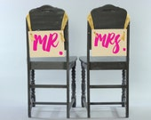 MR. & MRS. Hanging Banners | Set of 2 Chair Signs | Two Hanging Photo Props Wedding Keepsake | Handmade USA | Newlyweds | Casual Script Font