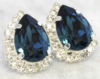 Blue Navy Earrings,Navy Blue Crystal Earrings,Dark Blue Swarovski Earrings, Navy Teardrop Earrings, Silver Navy Stud earrings, Bridal Gifts