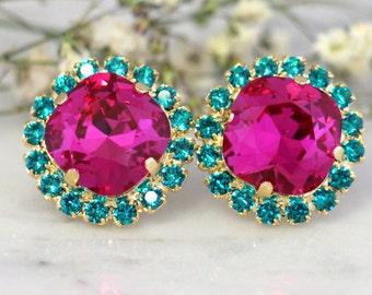 Fuchsia Earrings,Swarovski Hot Pink Earrings,Dark Pink Blue teal Swarovski Stud Earrings,Bridesmaids Earrings, Fuchsia Turquoise Earrings