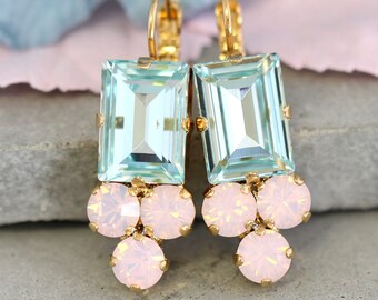Aquamarine Earrings,Aquamarine Rose  Quartz Earrings,Swarovski Pink Aqua Drop Earrings,Bridal Earrings,Bridesmaids Earrings, Gift For Her