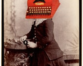 Original Collage on Antique Cabinet Card - The Author - Surreal Pop Surrealism Victorian Weird Antique Typewriter Writer Books Library Art