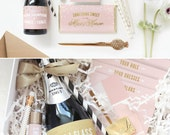 Be My Bridesmaid Box / Be My Maid of Honor Box // Printable Collection for Champagne Bottle Wrap, Straw Flags, Chocolate Bar Wrap, Lip Balm