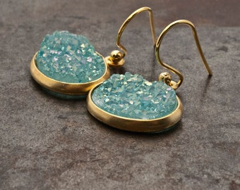 Blue Druzy Gold Earrings, Sparkly Druzy Agate, Glitter Blue Drop Earrings, Druzy Gemstone Bridal Gold Earrings, Sparkle Druzy Agate Jewelry