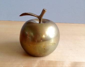 Vintage Brass Apple Bell  / Vintage Home Decor / Teacher Gift / Antique Brass Bell