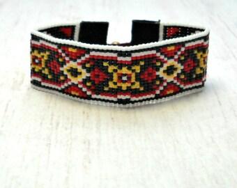Bohemian Beaded Bracelet - Native Bead Bracelet - Southwestern Bracelet - Yellow Red Bracelet - Chic Bracelet - Mothers Day Gift