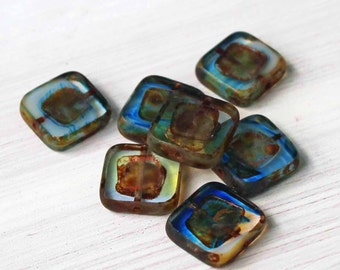 6 Czech Glass Beads 14mm Squares Blue and Brown Tones - CB071