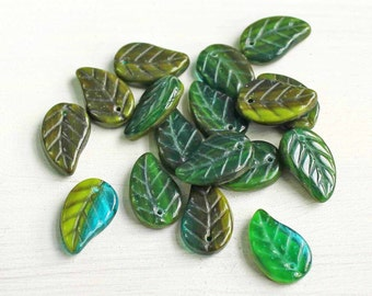 12 Czech Glass Beads 14mm x 9mm Pressed Glass Leaf Shape - CB167