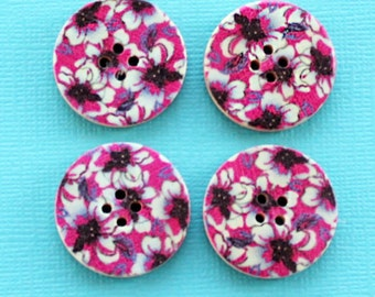 6 Large Wood Buttons Floral Abstract Design 30mm BUT035