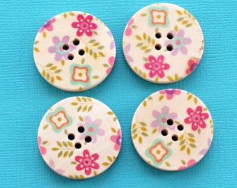 6 Large Wood Buttons Floral Abstract Design 30mm BUT92