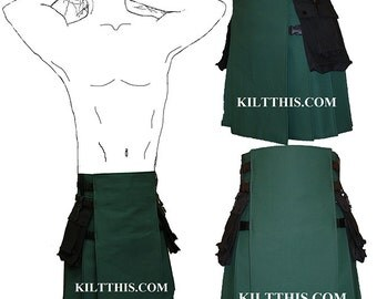 Interchangeable Green and Black Canvas Hiker Utility Kilt Handmade Adjustable Custom Fit with Large Expanding Cargo Pockets