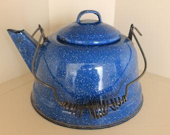 Vintage Blue and White Enamel Teapot, Enamelware Teapot, Graniteware Teapot
