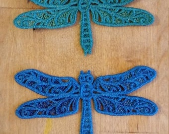 Pair of Lace Embroidery Dragonfly Embellishment - Your Choice of Colors!