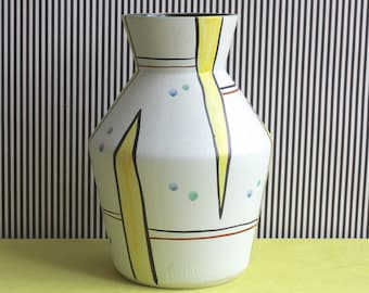 Large and Rare Mid Century Modern Fohr Keramik West German Pottery Handpainted Vase