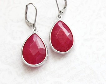 Cherry Red Earrings Cranberry Red Glass Drop Earrings Modern Dangle Earrings Teardrop Everyday Nickel Free Lever back Christmas Jewelry