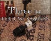 THREE Perfume Oil Samples / 1ml Perfume / Choose your Scents / Vegan perfume samples