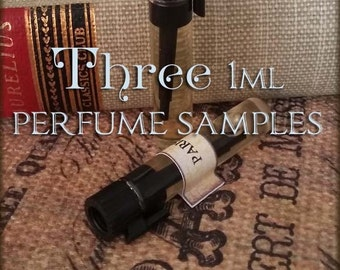 THREE Perfume Oil Samples / 1ml Perfume / Choose your Scents / Vegan perfume samples