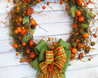 Fall Wreath, Pumpkin Wreath, Rustic Fall Wreath,  Autumn Wreath, Fall Decor, Autumn Decor, Rustic Decor