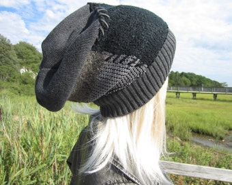 Thick Warm Winter Hat BOHO Clothing HOBO Tam Grunge Patches Slouch Beanie with Suede Lace Patched Black / Charcoal Gray  A1720