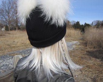 Genuine Fur Pom Pom Hat Bobble Skullcap Black Knit Cuff Beanie Cotton Thick Warm Winter Hat White Animal Ears Watch Cap A1845 -P