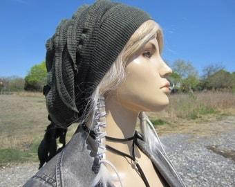 Merino Wool Thermal Slouchy Beanie Knit Hat Women's Slouch Tam Olive Green Merino Wool Blend Knit Rose Rag Tie Back Hat  A1908
