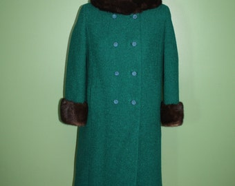 Vintage Emerald Green Wool Winter Coat Car Coat Mink Genuine Real Fur Collar Cuffs 60's 3/4 Length Sleeves Double Breasted Shagmoor Sm/Med