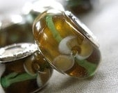 5 Amber Brown Green White Lampwork Embedded Flower beads. 13mm x 8mm, 4.5mm hole, pkg 5 beads