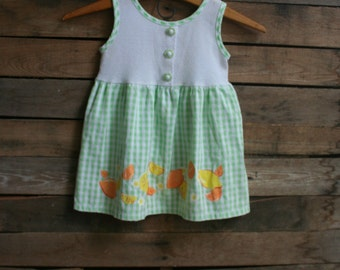 Vintage Children's Green & White Gingham fruit Dress with Flower Buttons by Little Precious Size 3T