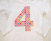 Girls 4th Birthday Shirt, Fourth Birthday Tee, Pink Floral Applique #4, White Scalloped Long Sleeve Tee, Ready to Ship, White and Pink Dot