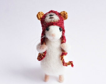 Needle felted mouse wearing crochet Ewok hat