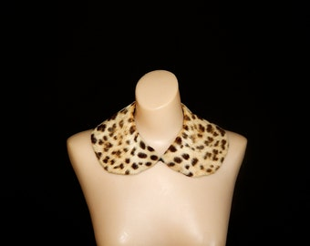 MEOW - Vintage 40s 50s real fur leopard cheetah print black cream collar scarf bombshell pin up sweater cardigan jacket coat