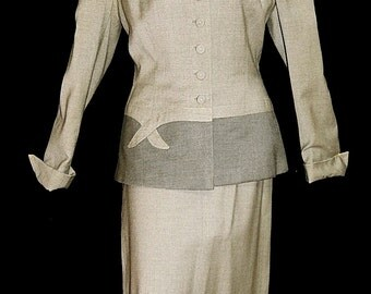 2 piece suit - Elegant vintage 40s 50s grey 2 tone bow bombshell pin up swing military uniform wool pencil skirt and jacket by Kraeler - M L