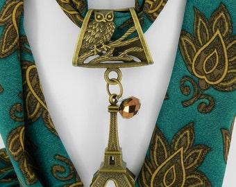 Eiffel Tower Scarf Jewelry ~ Owl Slide in Antique Brass ~ Scarf Pendant ~ Scarf Accessory~ Scarf Charm