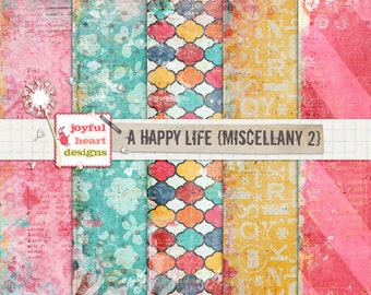 A Happy Life {misc 2} - instant download, 12x12 inch digital papers, photography textures, web design, blog design, mixed media, printable