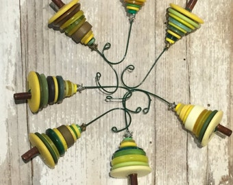 Yellow Green Button Christmas Tree Ornament - Proceeds Benefit Cancer Research