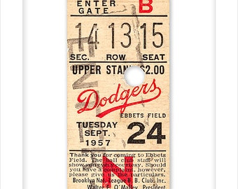 Brooklyn Dodgers final game at Ebbets Field ticket stub print - 8x10, 11x14 or 16x20 print - Brooklyn Dodgers fan gift - Los Angeles Dodgers